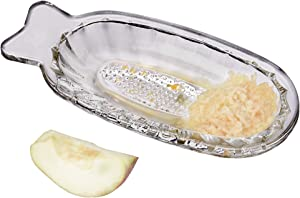 Crystalia Glass Vegetable Grater for Ginger Garlic Onion, Small Glass Food Processor, Fruit Grater Plate for Babies, Healthy Lead-Free Crystal Cut Glass Apple Grater
