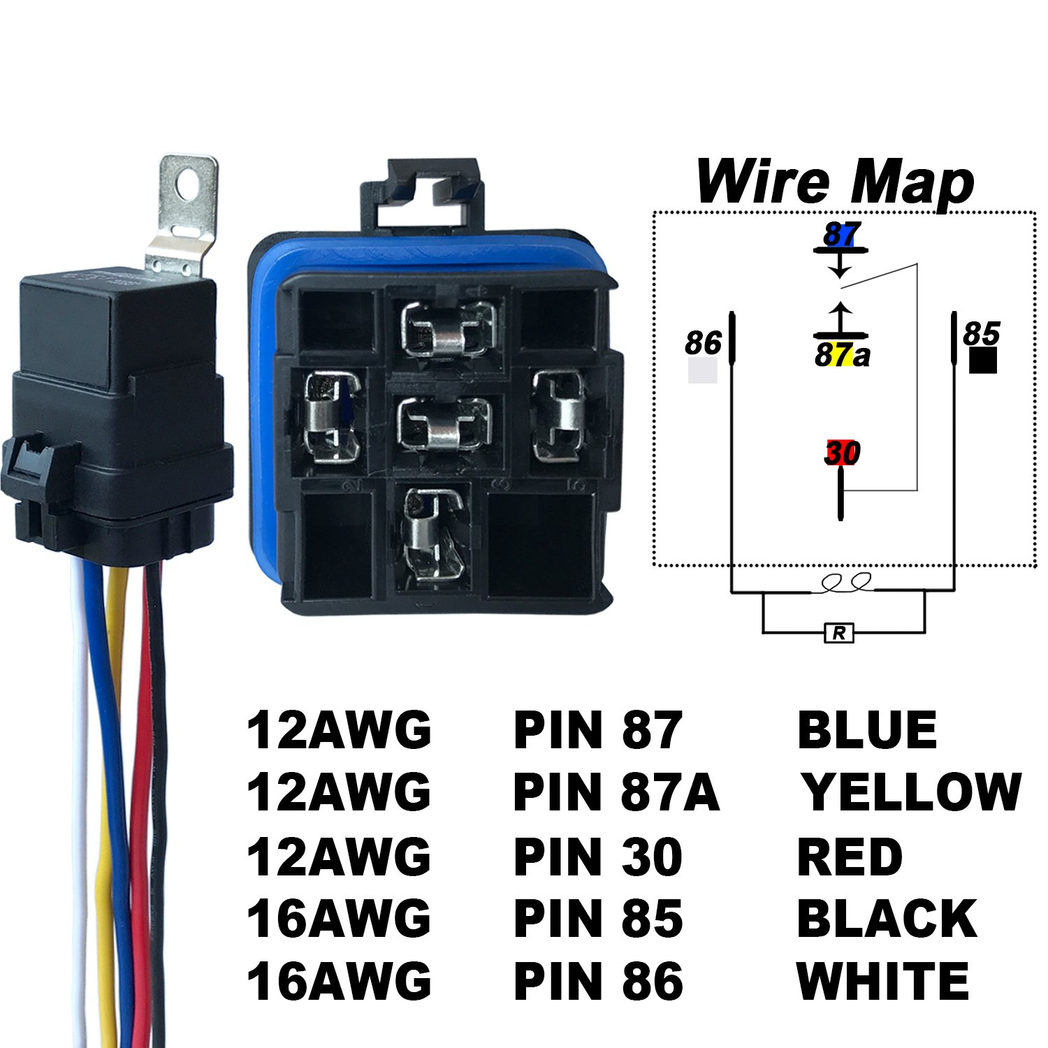 5 Pack 40 30 Amp Waterproof Relay And Harness Heavy Duty 12 Awg Wire Wiring 12v Dc Pin Spdt Bosch Style Automotive Max 14v