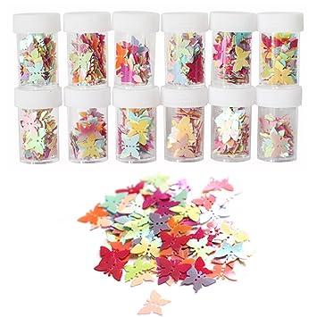 ROSENICE Lentejuelas coloridas lentejuelas para niños niños artesanía bricolaje pintura decoración 12 botellas (mariposa)