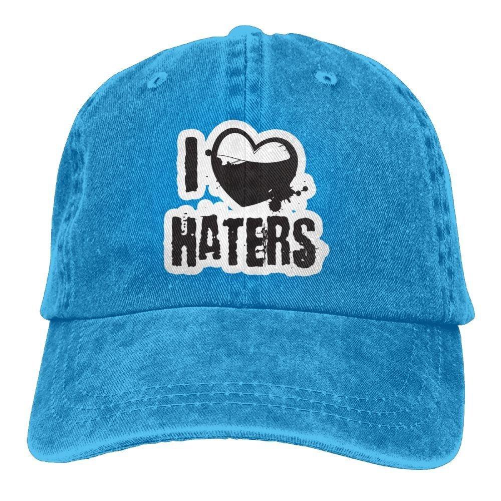 ONGH I Love Haters 1 Denim Hat Ajustable Hombre Grandes Gorras de ...