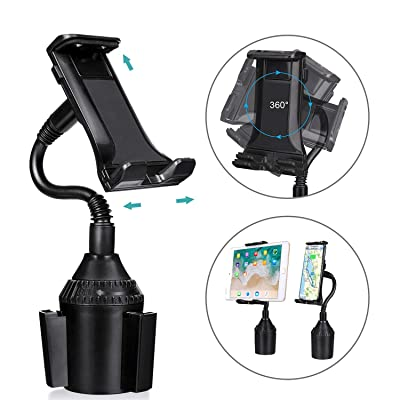 MIAODAM 360° Swivel Cup Holder Phone Mount Universal Adjustable Gooseneck Cup Holder Cradle Car Mount for Cell Phone iPhone 11//XR/XS/iPad/iPod Electronics Devices from 4.7'' to 10.5'': Electronics