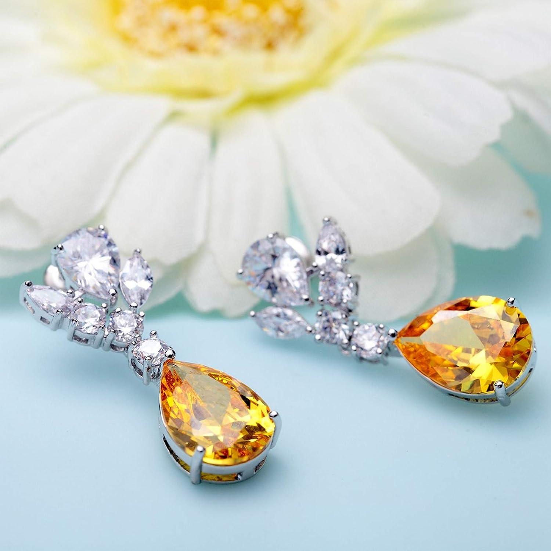 CS-DB Silver Top Quality Yellow Waterdrop Cubic Zircon Classic Stud Charm Earrings
