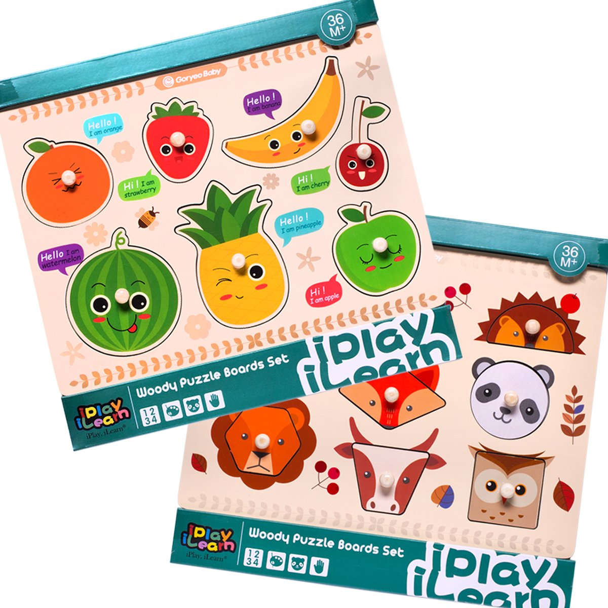 iPlay, iLearn Kids Wooden Peg Puzzles Play Set, Fruit Animals Shapes Knob Board, Learning Jigsaw, Preschool Gift, Educational, Development Toys for 1, 2, 3, 4 Year Olds Toddlers, Baby, Boys, Girls