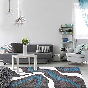DEZENCO Tapis Tendance pour la Chambre NODAGE Blanc, Gris, Bleu 60 x 110 cm