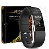 [6 PCS] Screen Protector For Fitbit Charge 2, Peyou [Full Coverage] HD Crystal Invisible Premium Film Screen Protector For Fitbit Charge 2 [Lifetime Replacements]