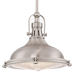 "Kira Home Beacon 11"" Industrial Farmhouse Pendant Light with Round Fresnel Glass Lens, Adjustable Hanging Height, Brushed Nickel Finish"