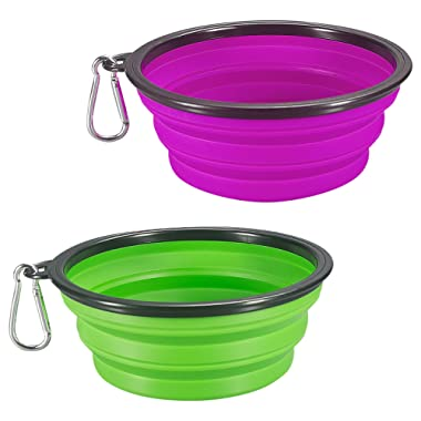 COMSUN Collapsible Dog Bowl, 2-Pack Foldable Expandable Cup Dish for Pet Cat Food Water Feeding Portable Travel Bowl Green and Purple Free Carabiner