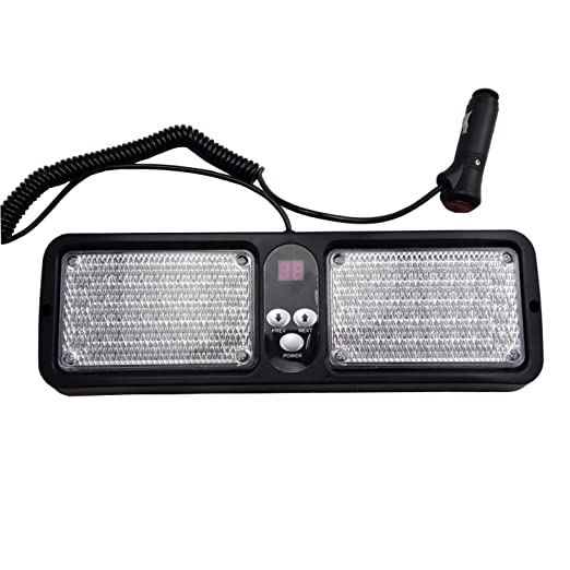 Red . Wecade 86 LED Sunshield Strobe Light Super Bright Flashing Emergency Warning Lights for Visor Maximum Visibility with 12 Flashing Patterns Fits Commercial Truck Boat Car