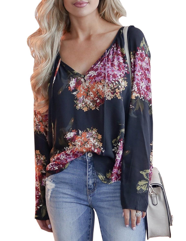 0c71dadda483 Women\'s Casual V Neck Long Sleeve Floral Print T-Shirts Tops Blouse Design:  Chiffon,Floral Print,V-neck Design,Loose fit and Flowy