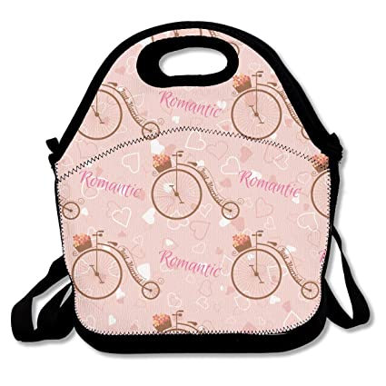 9e34f64af6f3 Amazon.com: AUGUSTN Neoprene Lunch Bag Valentine's Day Retro Bicycle ...