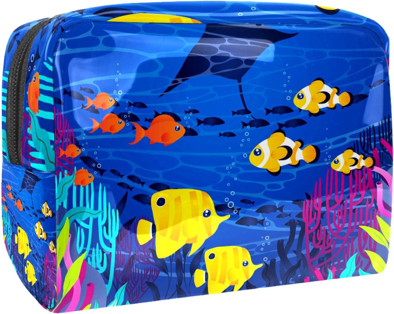 Bolsa de maquillaje portátil con cremallera bolsa de aseo de viaje para las mujeres práctico almacenamiento cosmético bolsa azul bajo el agua