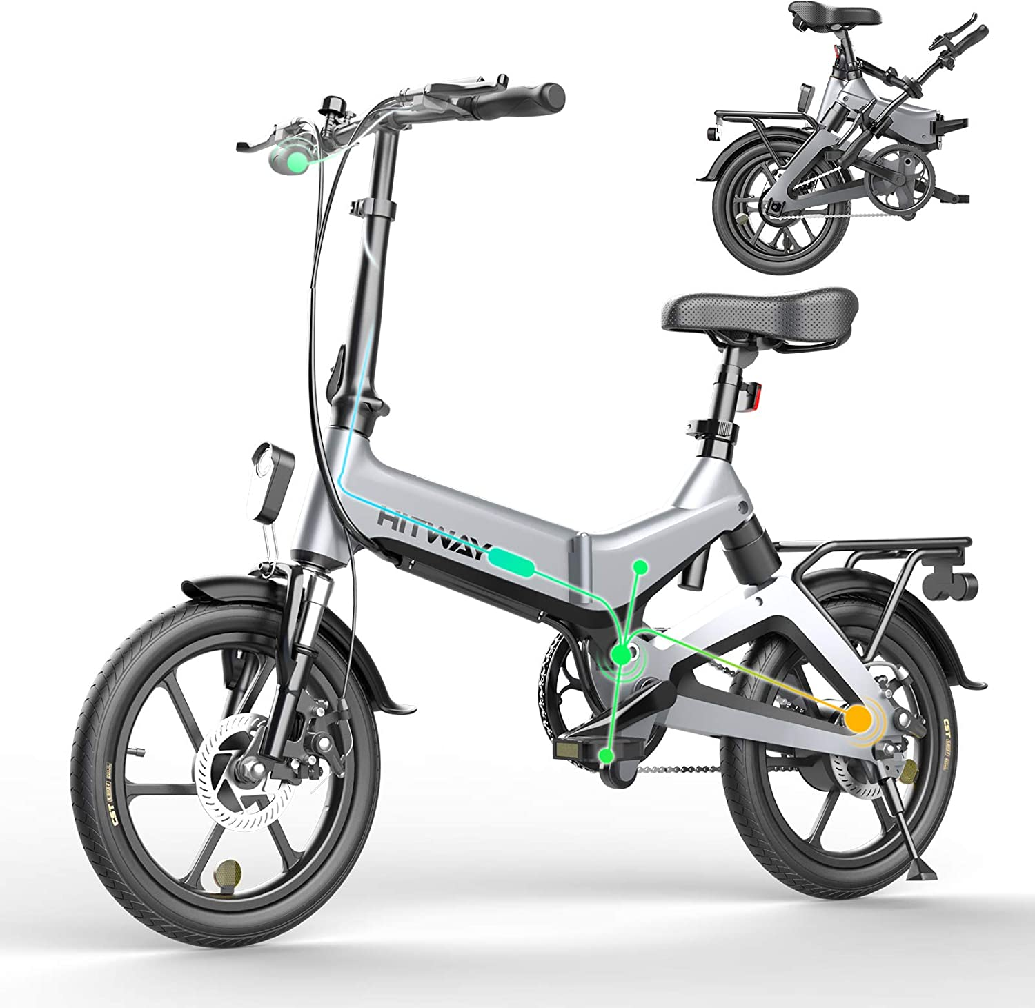 Hitway Electric Bicycle Folding Bike Ebike Electric Bicycles Folding Bike 250w Electric Bicycle E Bike With 7 5 Ah Battery 16 Inch For Teenagers And Adults Sport Freizeit