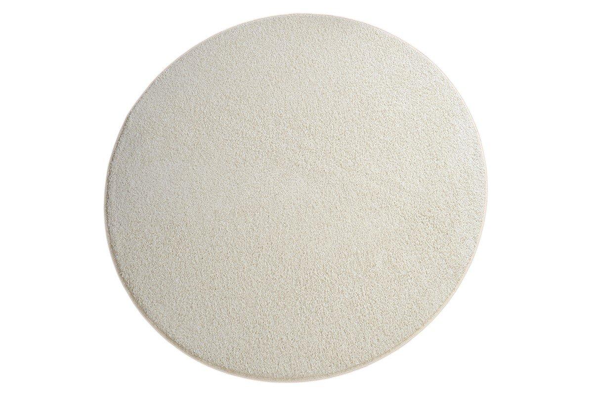 Havatex Hochflor Shaggy Teppich Pulpo rund - schadstoffgeprüft pflegeleicht   schmutzresistent robust strapazierfähig   Wohnzimmer Schlafzimmer, Farbe Creme, Größe 160 cm rund