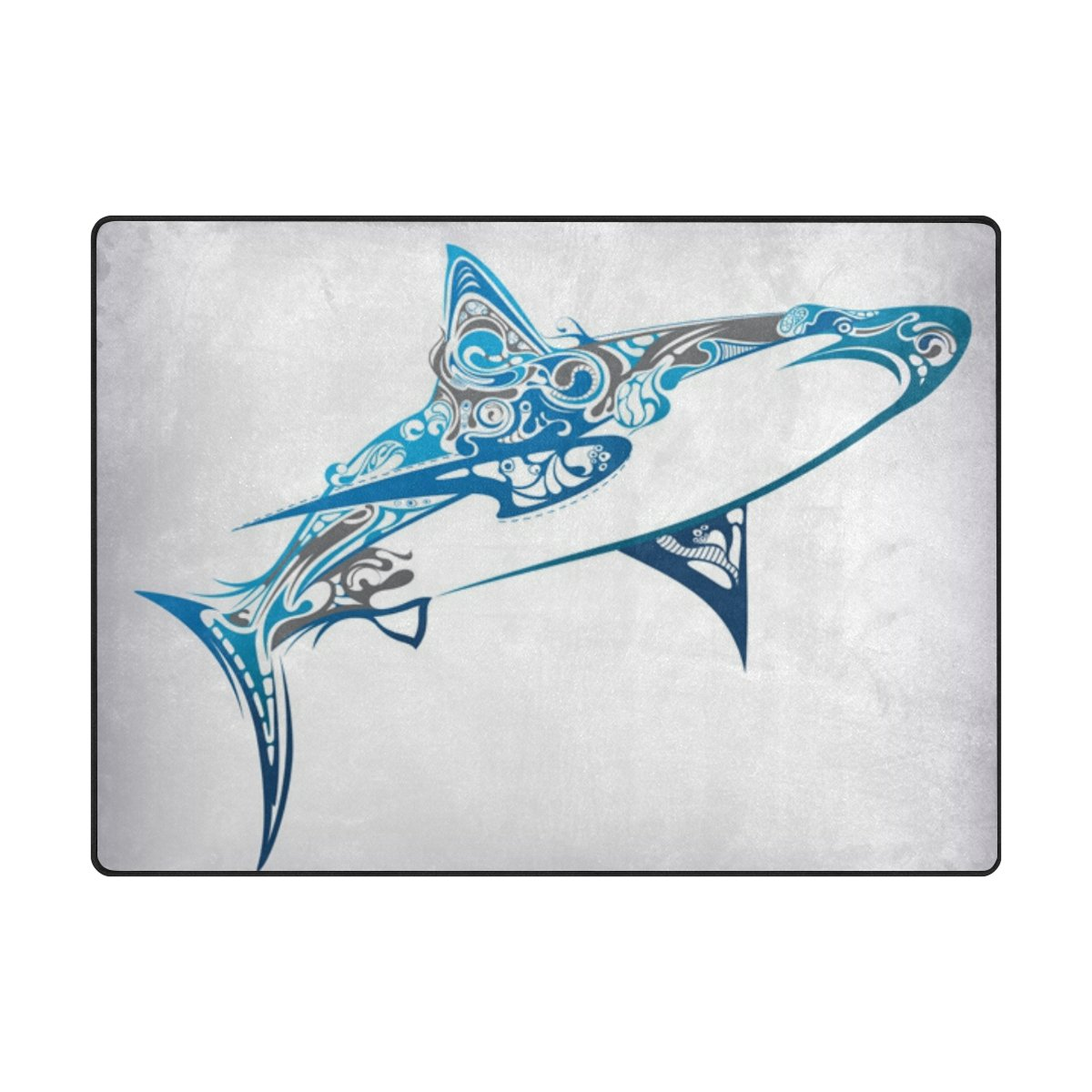 Mock ST Great Shark Area Rug Pad Kids Children Play Solid Home Decorator Floor Mat Non-Slip Anti-Static, Water-Repellent Rugs Carpet 63 x 48 Inch