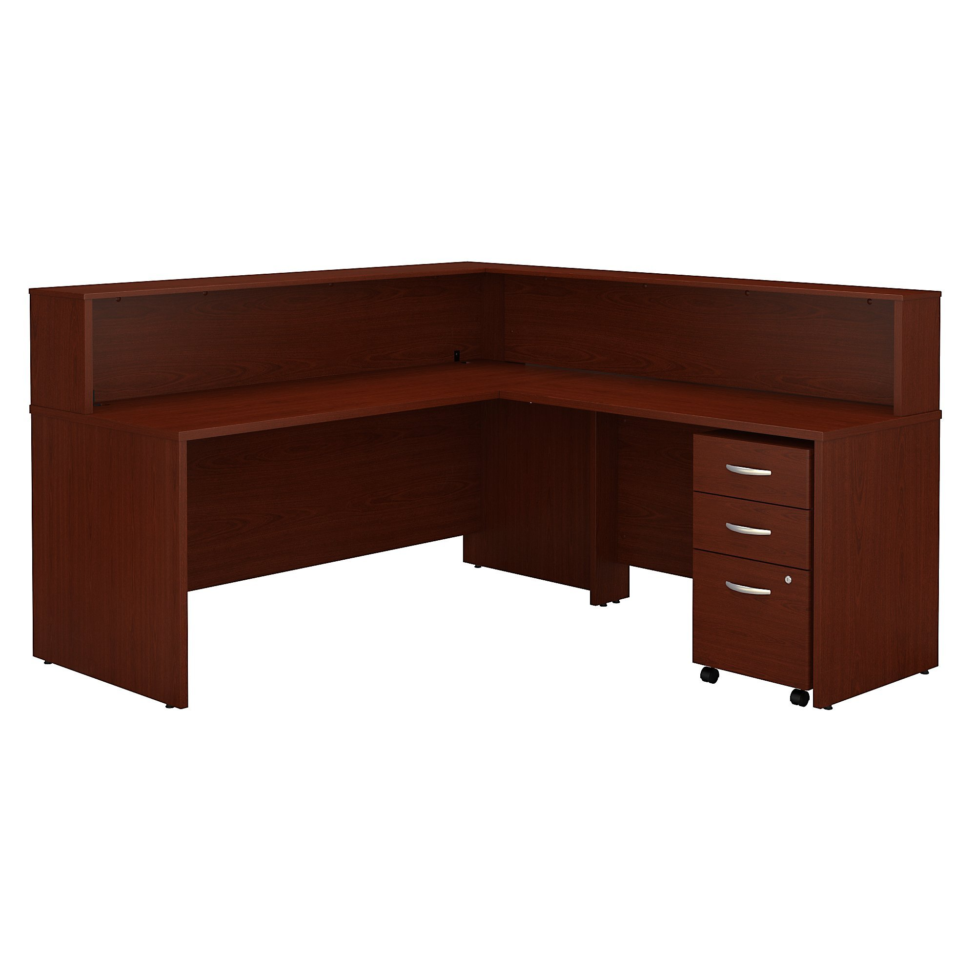 Bush Business Furniture Series C L Shaped Reception Desk with Mobile File Cabinet in Mahogany by Bush Business Furniture (Image #1)