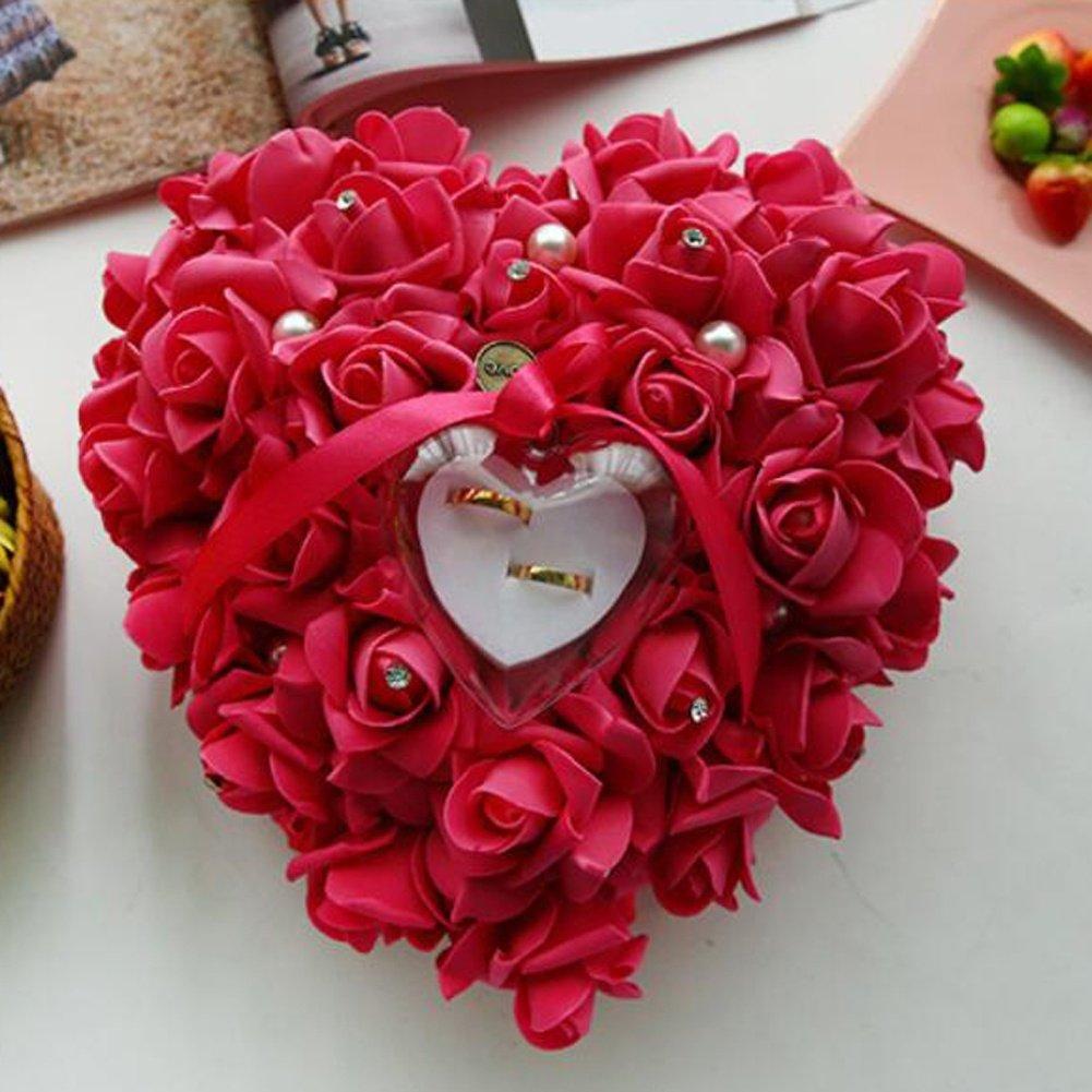 24 bpblgf New Coeur Roma ntique en Forme de Coussin Alliance Bo/îte de Bague de Mariage Oreiller danneau avec Une /él/égante Bague en Satin Floral Pillow Anneau 02 10 22cm