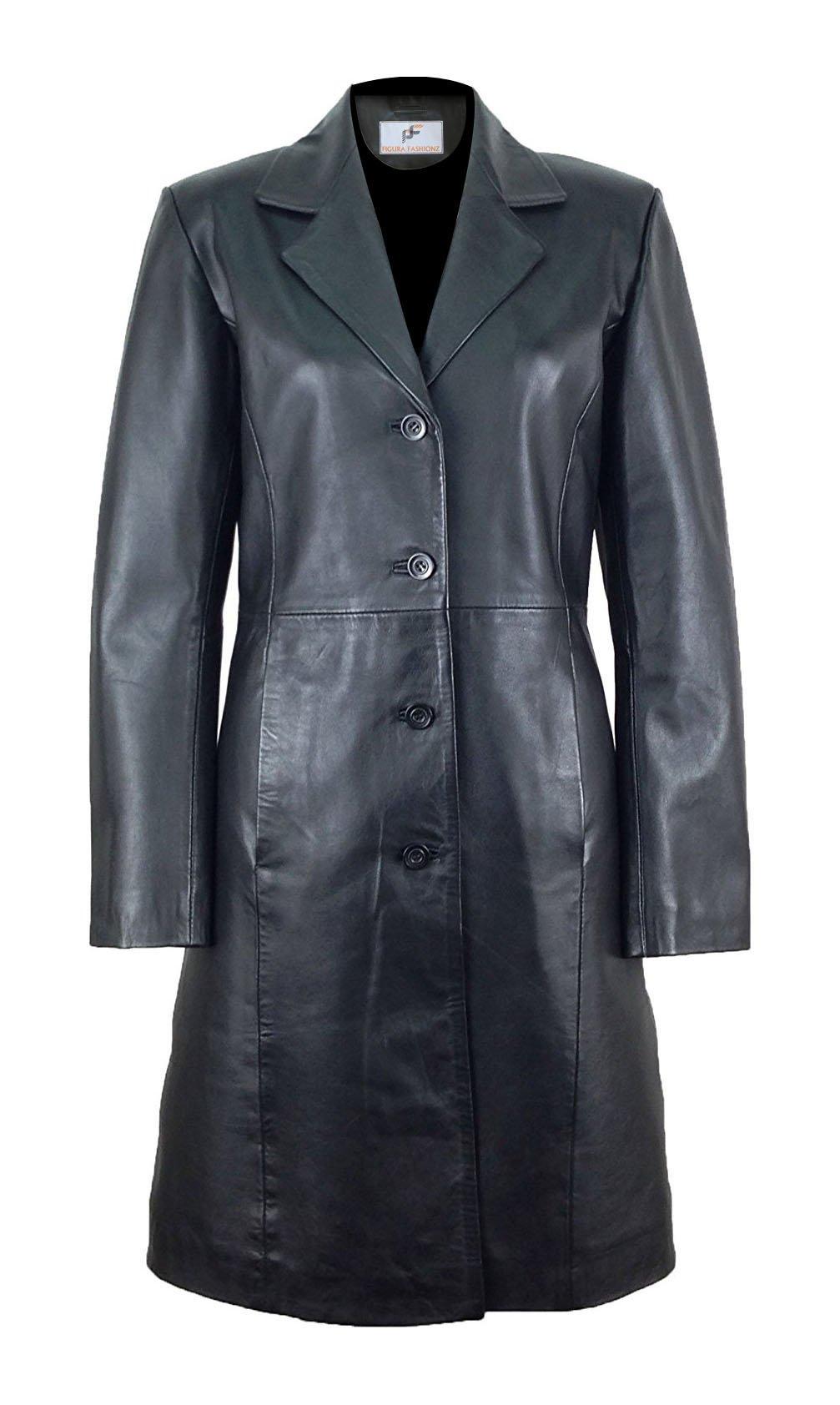 Figura Fashionz Classy Long Body Leather Coat For Women (X-Large)