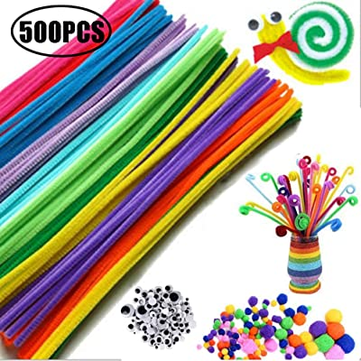 Blacgic Pipe Cleaner Handicraft Set, 500 Pieces Pipe Cleaner Craft Set, Pipe Cleaner, Mini Pompoms with Googly Eyes Felt, for Children to Craft and Decorate: Home & Kitchen