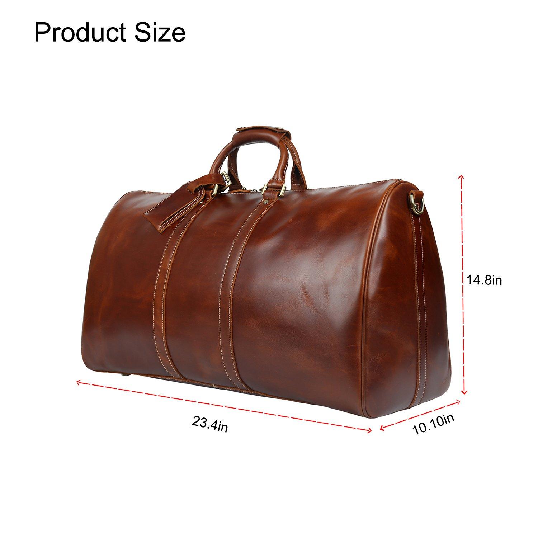Huntvp Mens Leather Travel Duffel Bag Vintage Weekender Carry On Brown Luggage Bag by Huntvp (Image #2)