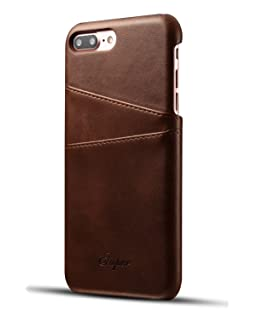iPhone 7 Plus Case | Slim | Thin | Leather Wallet Card Holder | for Men, Women, Girls | Protective Edge (Brown - 7+)