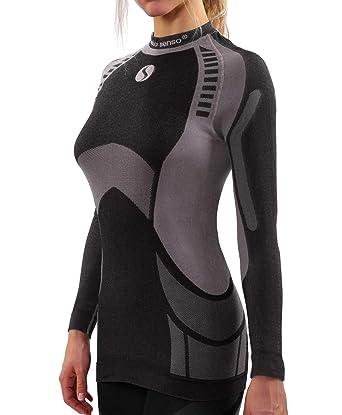 bd8bc1aa07148 Sesto Senso® Camiseta Térmica Mujer Ropa Interior de Compresión Manga Larga  Camisa Funcional Termo Activo