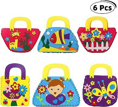 Richaa Kit de Costura para niños,6 PCS Craft Kits de Fieltro para niños Principiante DIY Bolso para niños Curso de Arte Regalos para niñas: Amazon.es: Juguetes y juegos