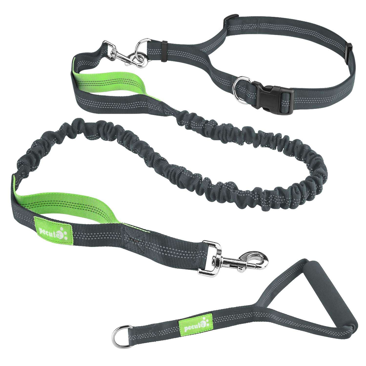 """Pecute Hands Free Dog Leash with Extra Foam Handle - Extendable Bungee with Reflective Stitching - Waist Belt Adjustable Fits up to 48"""" Waist - For Jogging, Running, Hiking (Grey and Green)"""
