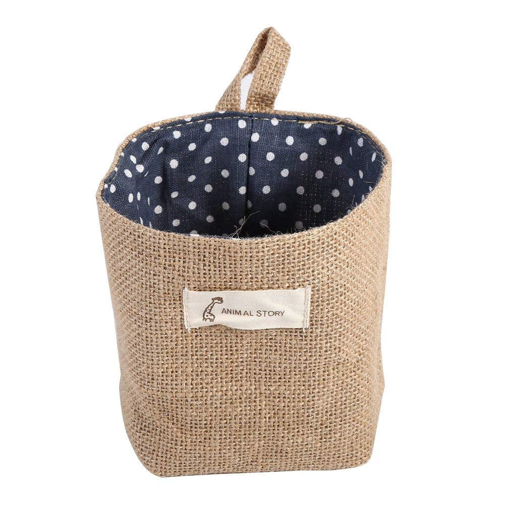 282ab66400ac MXCELL Mini Hanging Storage Bag Cotton Linen Small Organizer Storage Basket  Decor Bin Bag for Room Wall Door Closet 2PCS