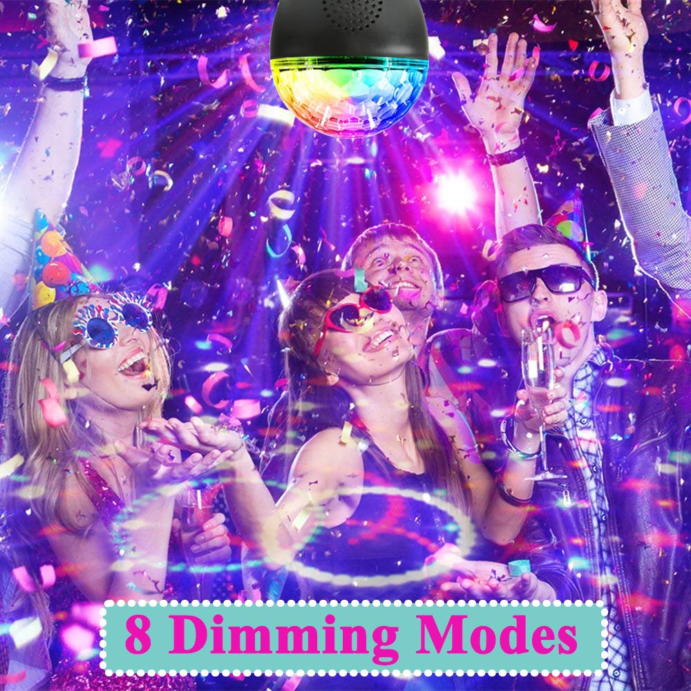 UPGRADED Party Lights Sound Activated Disco Ball with Remote Control 16 Colors Disco Lights DJ Lights Wireless Phone Connection LED Stage Light for Kids Bedroom Wedding Party Birthday 8 Dimming Modes