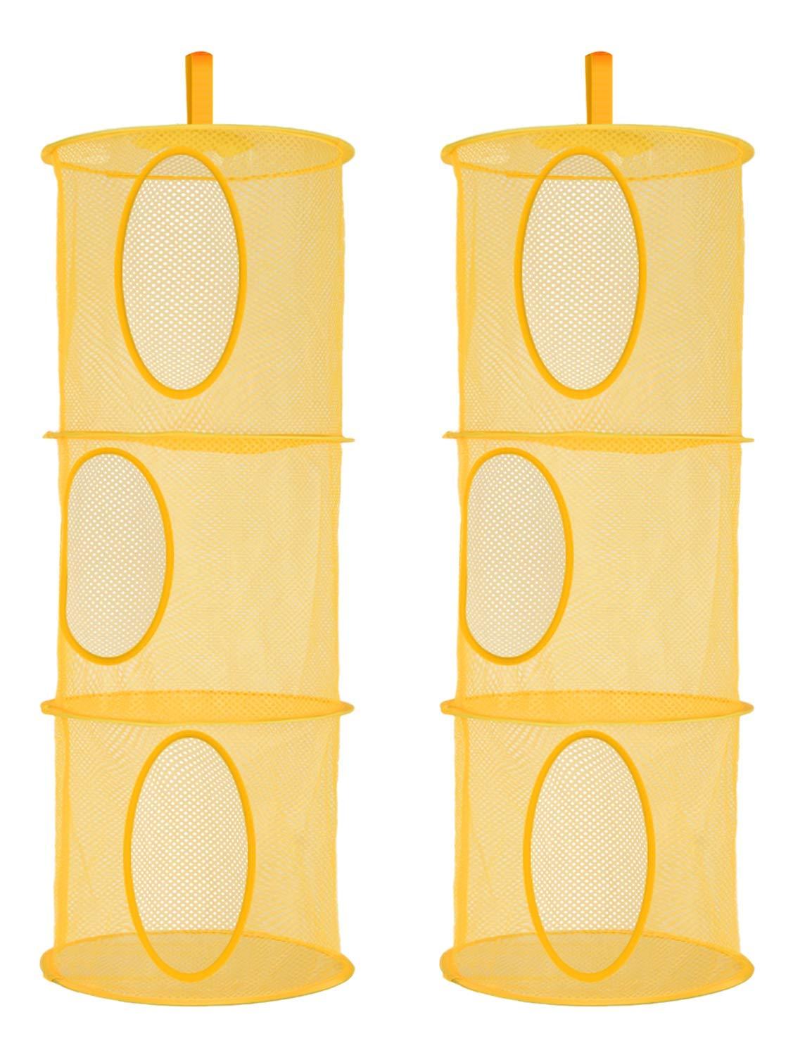 Libeder Mesh Hanging Storage Space Saver Bags Organizer,Foldable Storage Organizer 4 Compartments Toy Storage Basket for Kids Room Bathroom 2 Sets Blue
