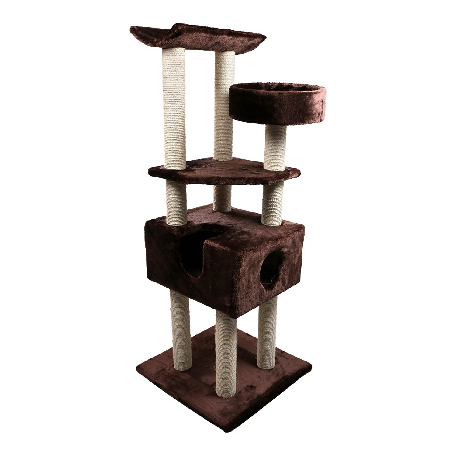 Cat Tree Tower - Large, Sturdy, 5ft Tall with Condo, Bed, Sisal Scratching Posts by Kitten Around