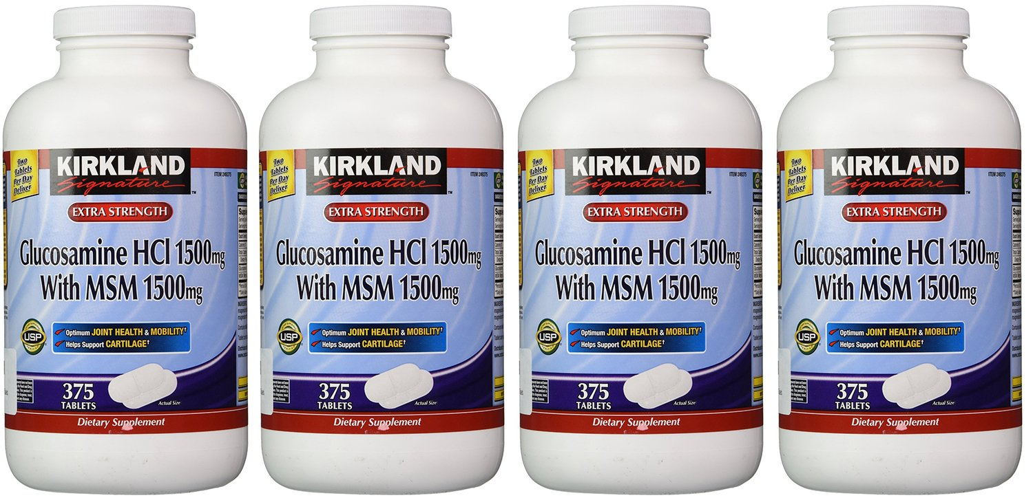 Kirkland KJUJY, Extra Strength Glucosamine HCI with MSM 375 Count (Pack of 4)