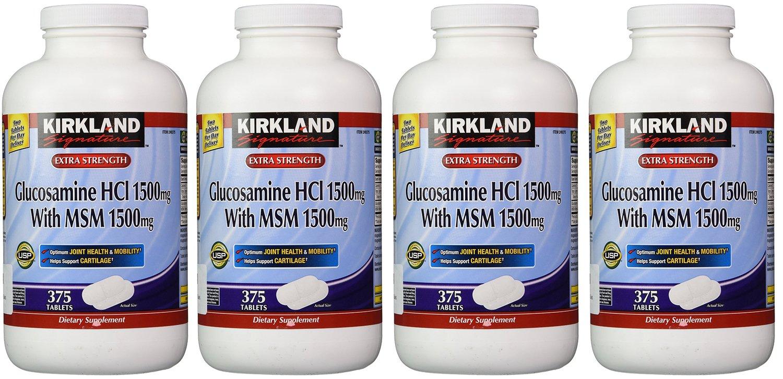 Kirkland hriGA, Extra Strength Glucosamine HCI with MSM 375 Count (Pack of 4)