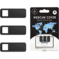 Moko Webcam Cover, 3 Pack Ultra Slim Sliding Web Camera Cover with Strong Adhesive, Protect Your Security & Privacy, Fits Laptop, Desktop, PC, iMac, Macboook, iPad, Smartphone and More - Black