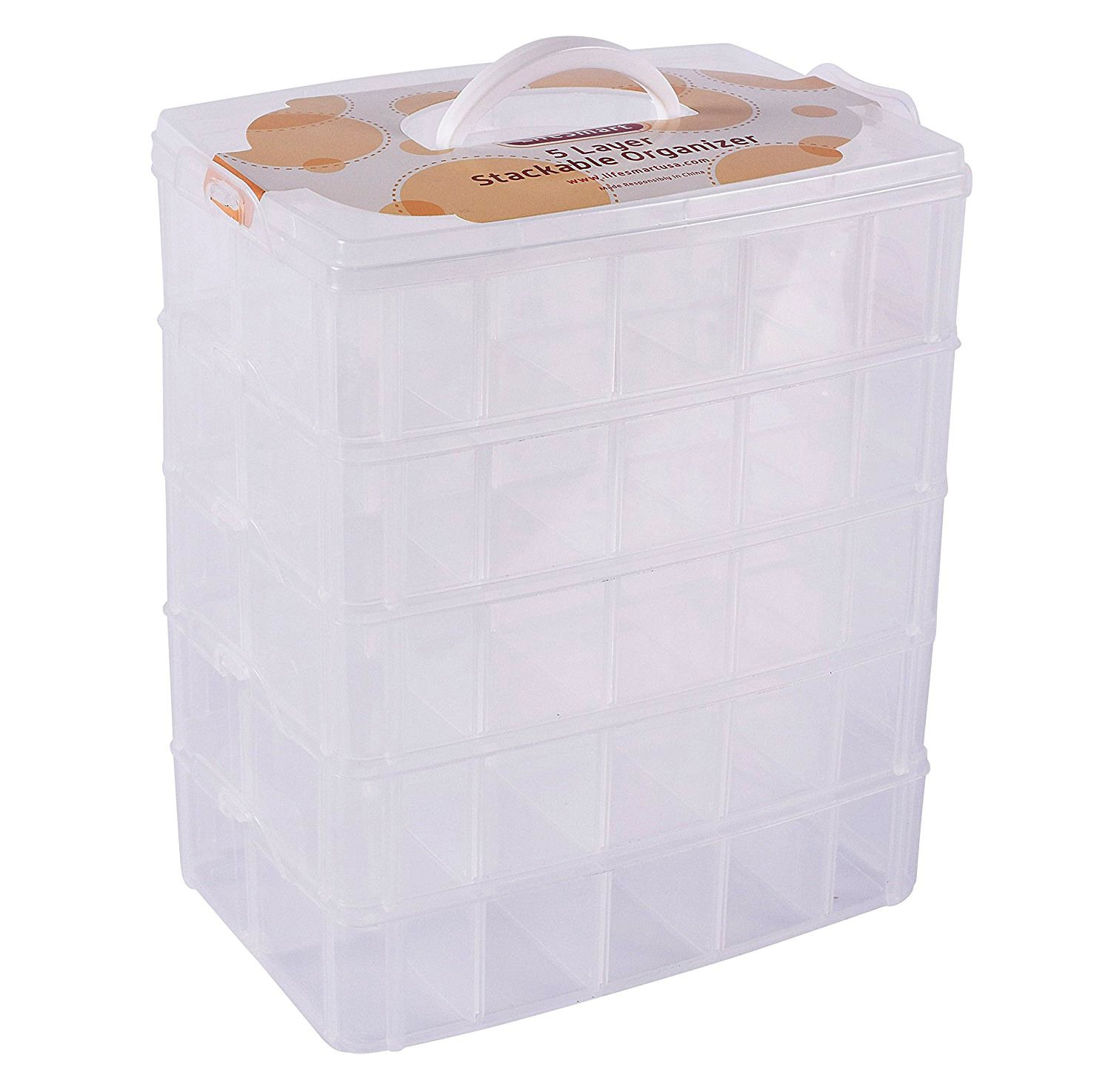 LifeSmart USA Stackable Storage Container Clear - 50 Adjustable Compartments - Store More Than Other Cases - Lego Dimensions - Shopkins - Littlest Pet Shop - Arts and Crafts- Piping Tips - and More!