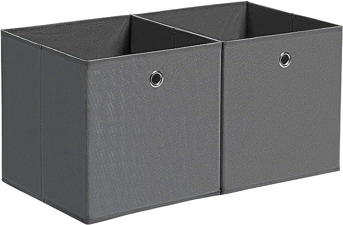 SONGMICS Juego de 2 Cajas de Almacenamiento, Cubos de Almacenaje Plegables, Tela no Tejida, Organizador de Ropa, Juguetes, Gris RFB02G: Amazon.es: Hogar
