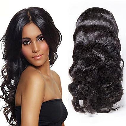 Maxine 360 - Peluca con malla frontal con pelo de bebé, ondulado, brasileño,