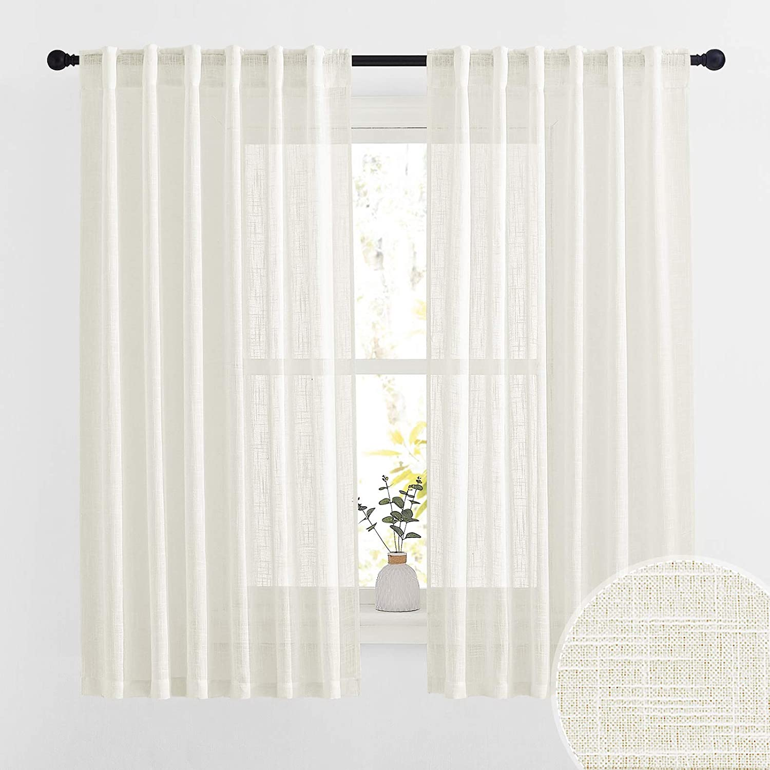 RYB HOME Semi Sheer Linen Textured Window Curtains, Light Glare Filtering Privacy Draperies for Bedroom Home Office Living Room, Natural, 52 inch Wide x 63 inch Long, Set of 2