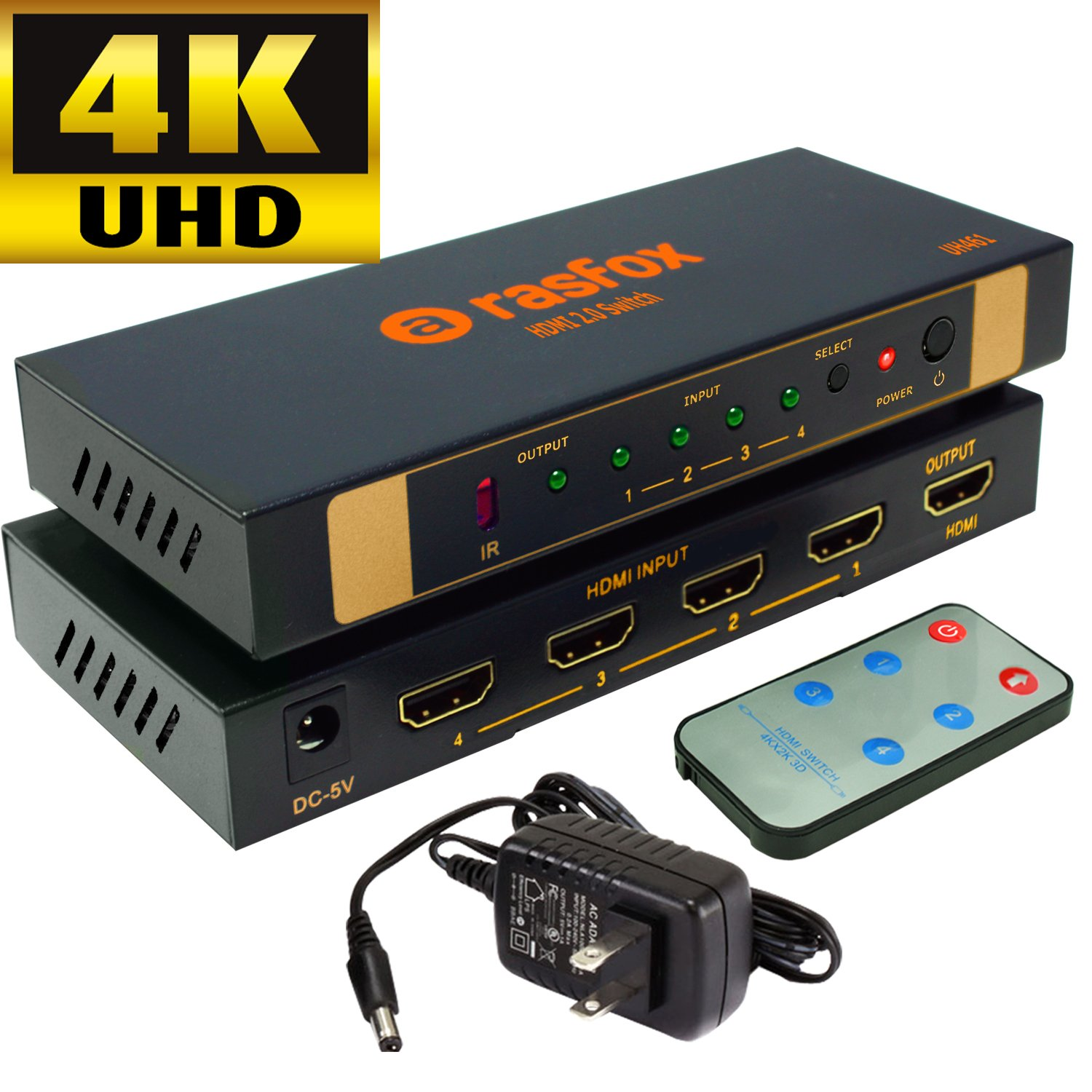 Rasfox UH461 Powered 4x1 4K 60HZ HDMI Switch Switcher Selector Splitter with IR Remote; HDMI 2.0, HDCP 2.2,HDR 4K UHD 1080P 3D; 4 In 1 Out; Connect 4 HD devices to 1 HDTV (UHD 4K@60Hz -UH461)