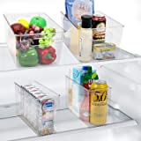 RMAI Fridge Organizer, 4 Pack Refrigerator Bins Kitchen Can Storage Container Pantry Organizers Clear Stackable Plastic Food