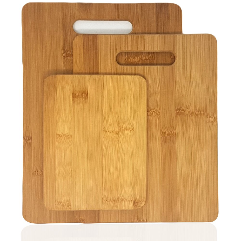 Bamboo Cutting Board 3 Piece Set, Made From Premium 100% Organic And Safe Antibacterial Wood, Newest Non-Stick Design, FDA Approved And BPA Free Kitchen Chopper Reversible Stand. Kitchen Basix by Kitchen Basix (Image #8)