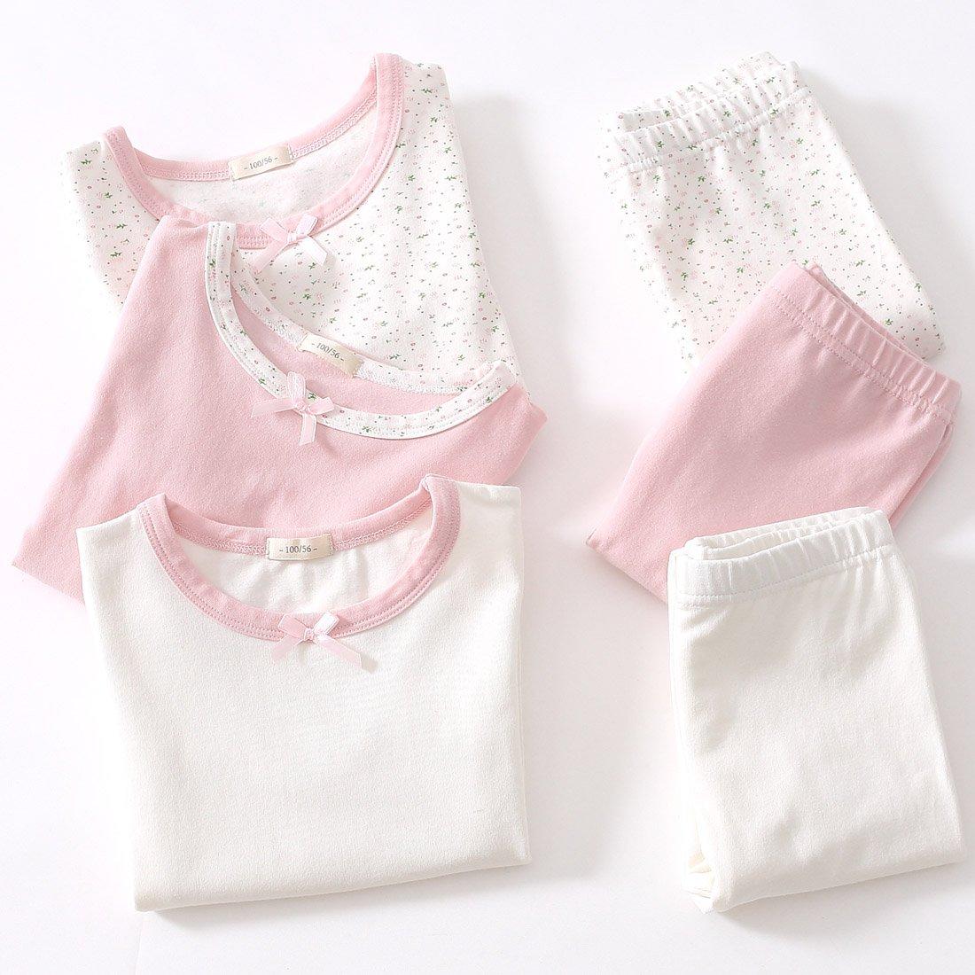 FEOYA Girls 2-Piece Pajamas Set Long Sleeve Solid Pajamas Cotton Sleepwear