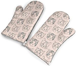 Cat Stack Dark-Peach_Salmon Oven Mitts Heat Resistant Non Slip Kitchen Oven Gloves Protection Comfort for Cooking,Baking,Grilling,Barbecue,Potholders,BBQ 1 Pair