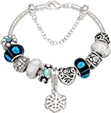 """""""You Are Always In My Heart"""" Silver-Tone Love Heart Bead Charm Bracelet For Christmas Birthday Anniversary Valentine's day Valentine Gift"""