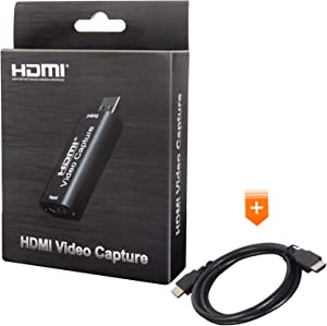 Audio Video Capture Card, HD 1080p 30fps, HDMI to USB 2.0, Record for Live Teaching, Games, Broadcasts, Conferences, Camera HD Videos, and Streaming with 4K HDMI Cable