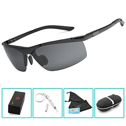 ccbaad667af EDO Men s Sports Style Polarized Sunglasses for Driving Fishing Cycling  Golf Glasses Unbreakable Al-Mg