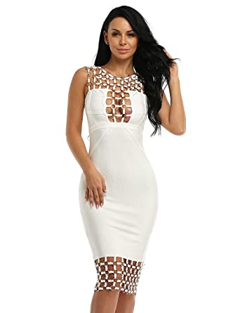 7ab0904658b4 Hego Circle Hollow Out Sleeveless Backless Sexy Bodycon Bandage Club Dresses  H2123-1 (S