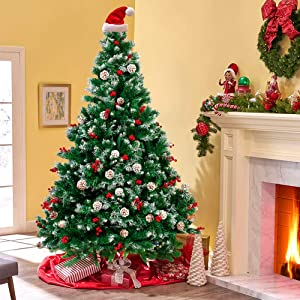 sunseen 6FT Christmas Tree Hinged Artificial Christmas Trees with Red Berries and Pine Cones Ornaments Fake Metal Stand Christmas Tree for Xmas Indoor Decor (6ft(Pinecone Berry))
