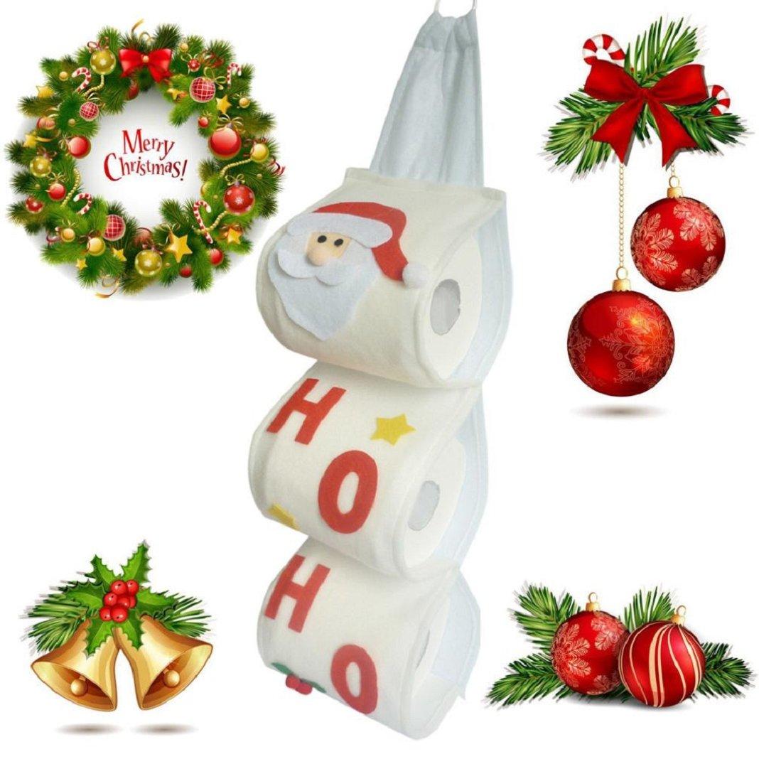 Sisit supporto di immagazzinaggio di carta igienica Santa Claus. Paper/asciugamano Sacchetti di Natale per un facile da riporre. bianco