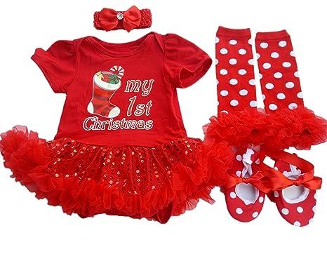 2c21b6b661e Amazon.com  AISHIONY Baby Girl 1st Valentine Tutu Outfit Newborn Princess Party  Dress 4PCs  Clothing